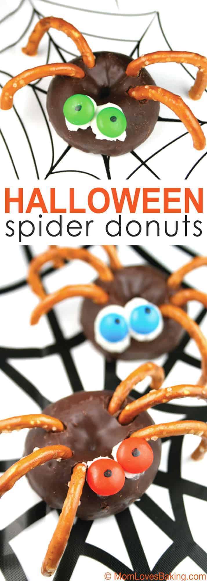 Halloween Spider Donuts - Mom Loves Baking