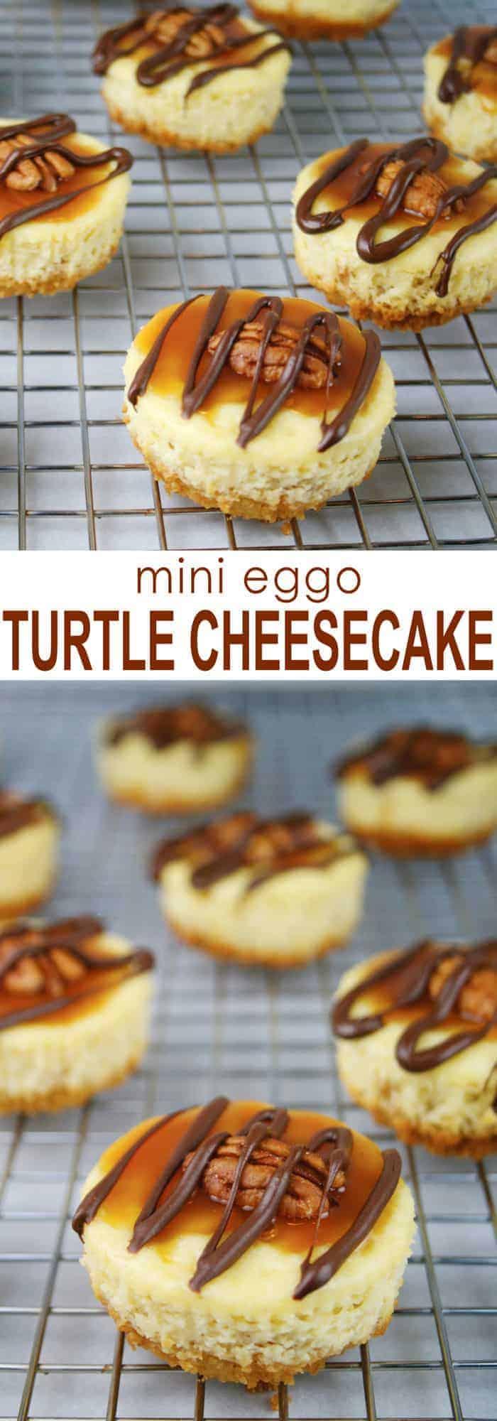 Mini Eggo Turtle Cheesecakes