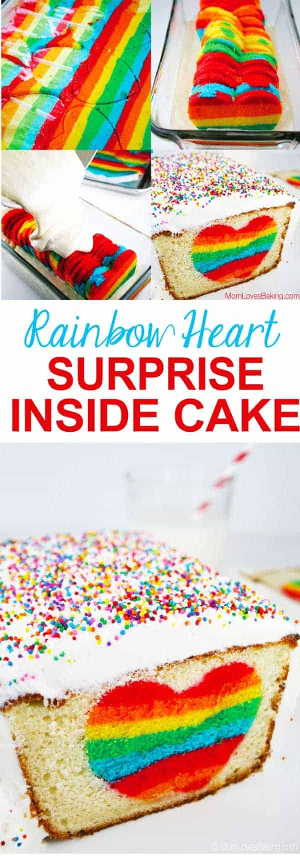Rainbow Heart Surprise Inside Cake