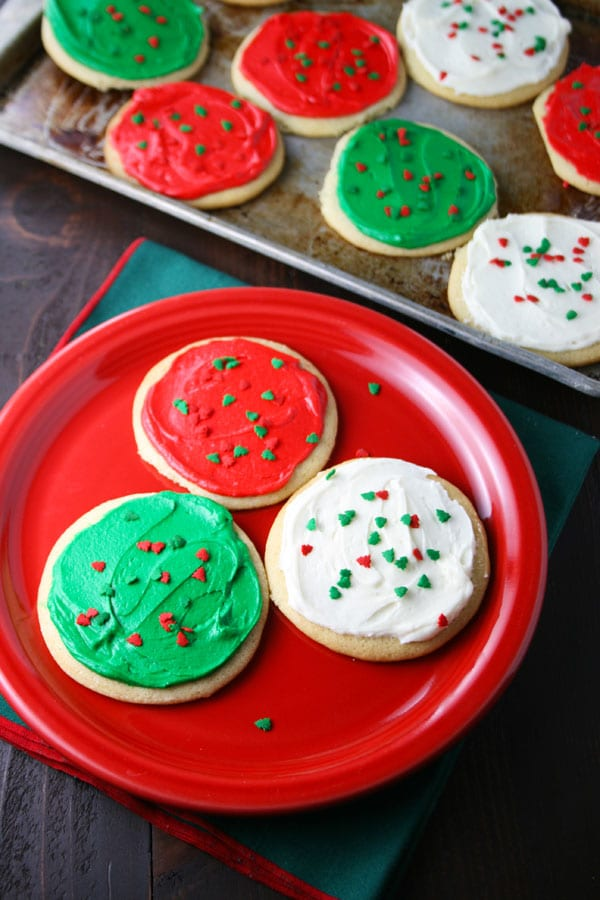 Christmas sugar cookies with buttercream frosting