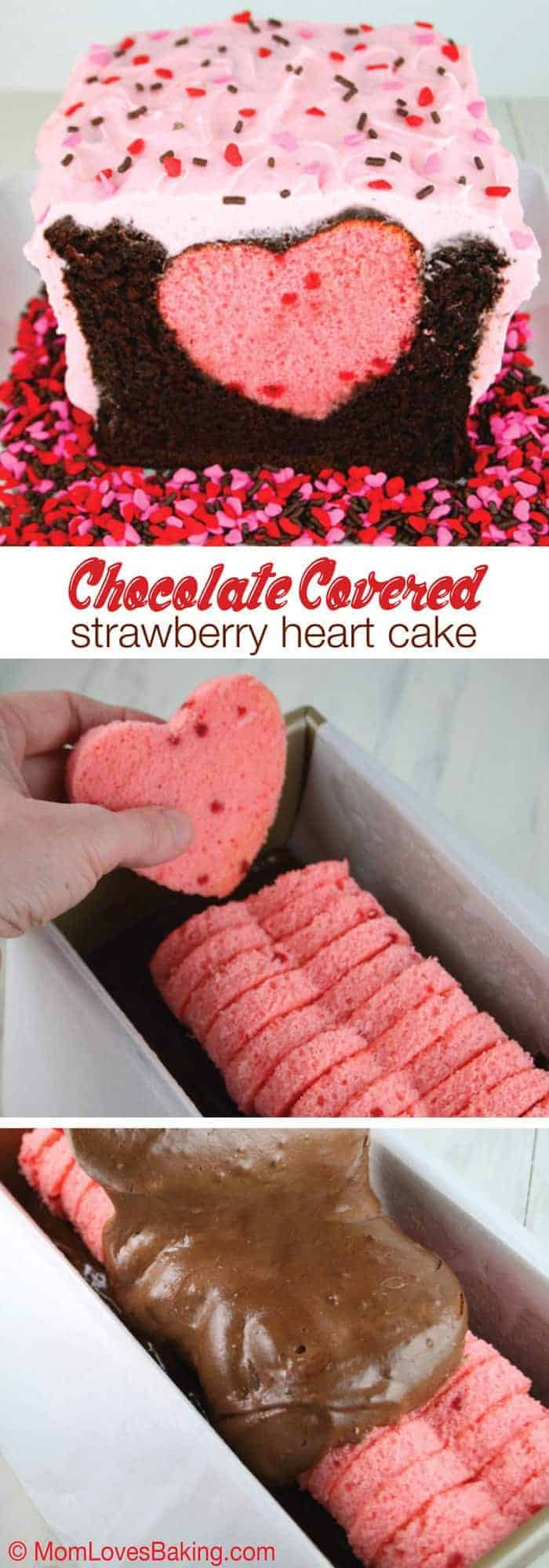 Chocolate Covered Strawberry Heart Cake - Mom Loves Baking