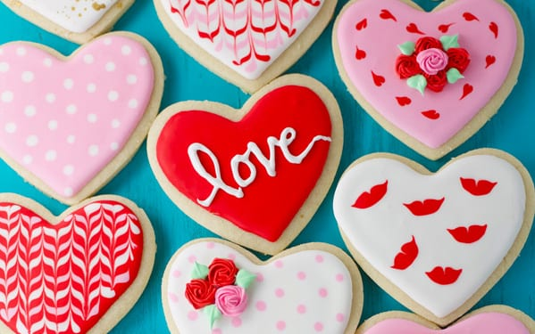 Valentine's day royal icing sugar cookies