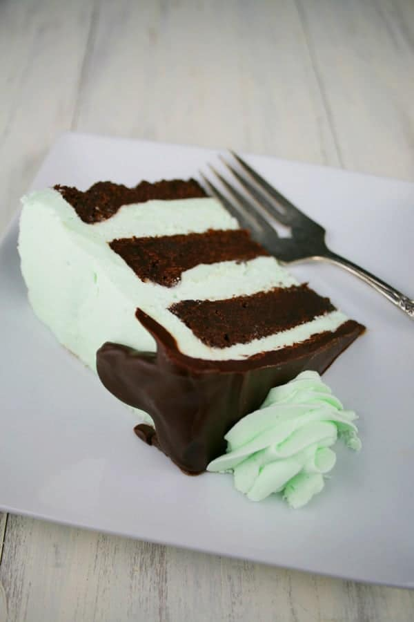 of moist, flourless chocolate cake with a creamy mint buttercream ...