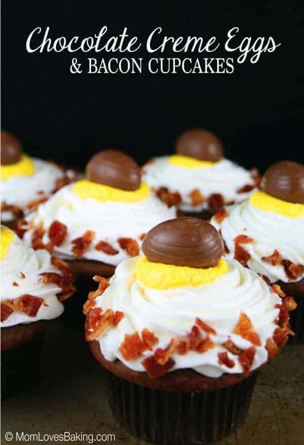 ... creme egg on top. Chocolate Creme Eggs & Bacon Cupcakes are eggtastic