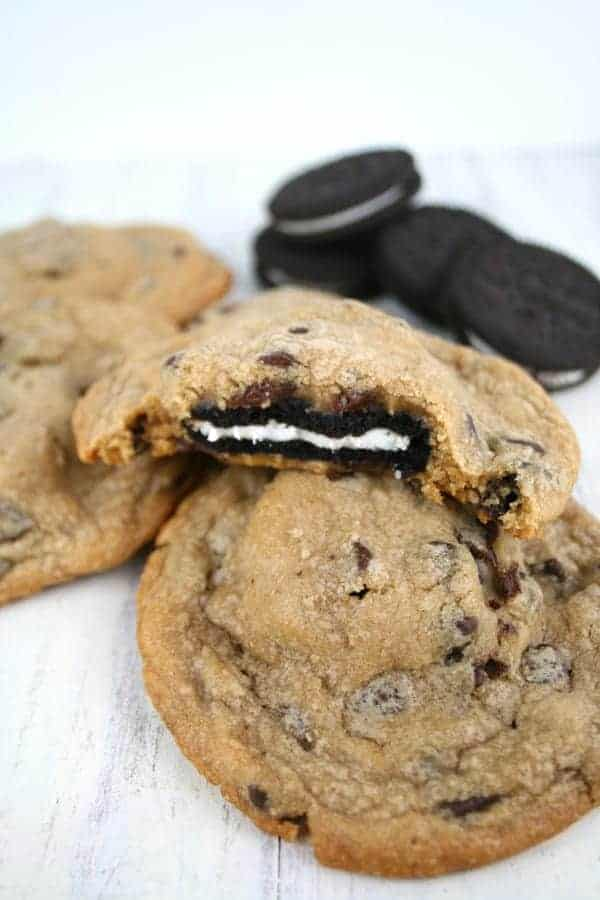 Oreo Stuffed Chocolate Chip Cookies - Mom Loves Baking