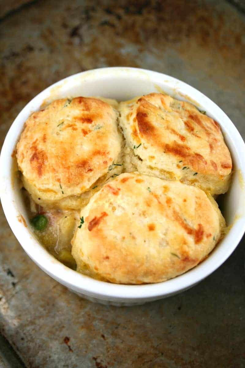 Chicken Pot Pie with Cheddar Dill Biscuits - Mom Loves Baking
