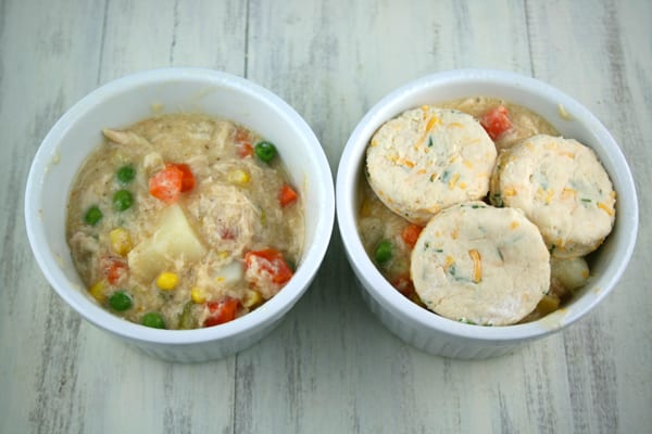Homemade chicken pot pie with cheddar dill biscuits