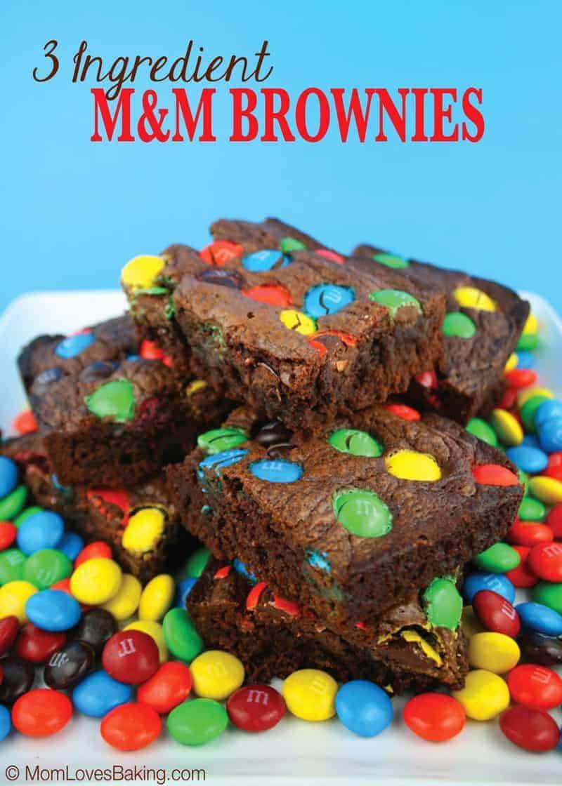 3-Ingredient M&M Brownies - Mom Loves Baking