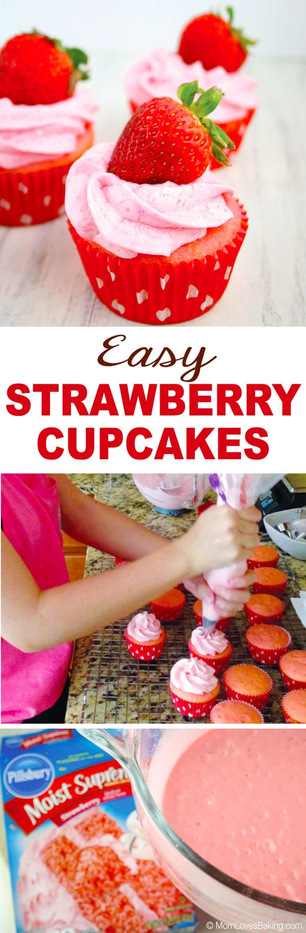 Easy Strawberry Buttercream Cupcakes