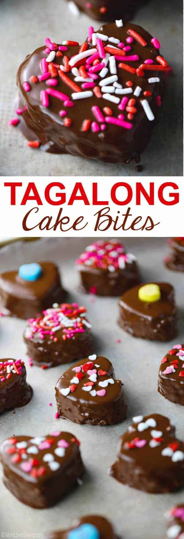 Heart shaped Tagalong Cake Bites