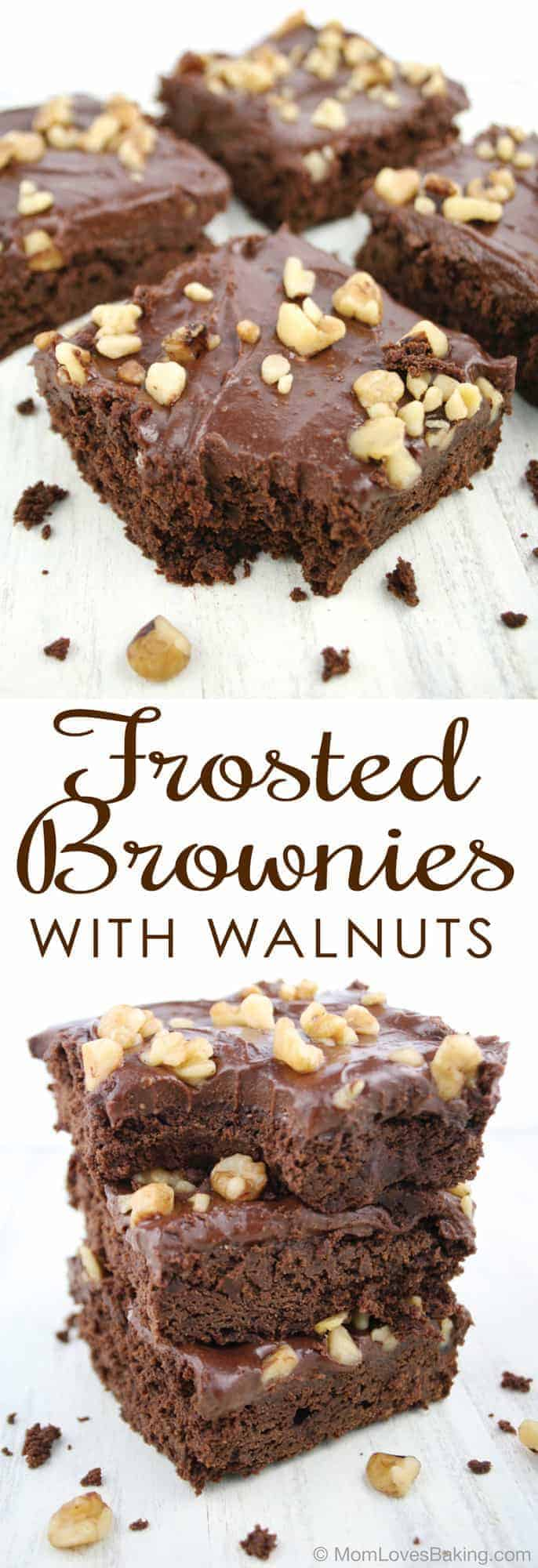 Frosted Brownies With Walnuts Mom Loves Baking