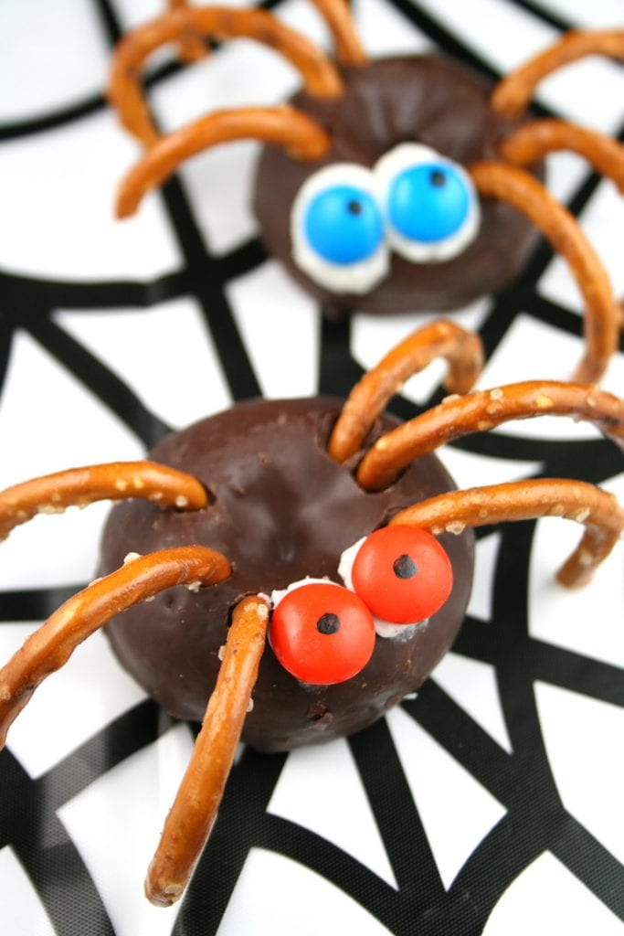 Halloween Spider Donuts No bake easy to make for kids