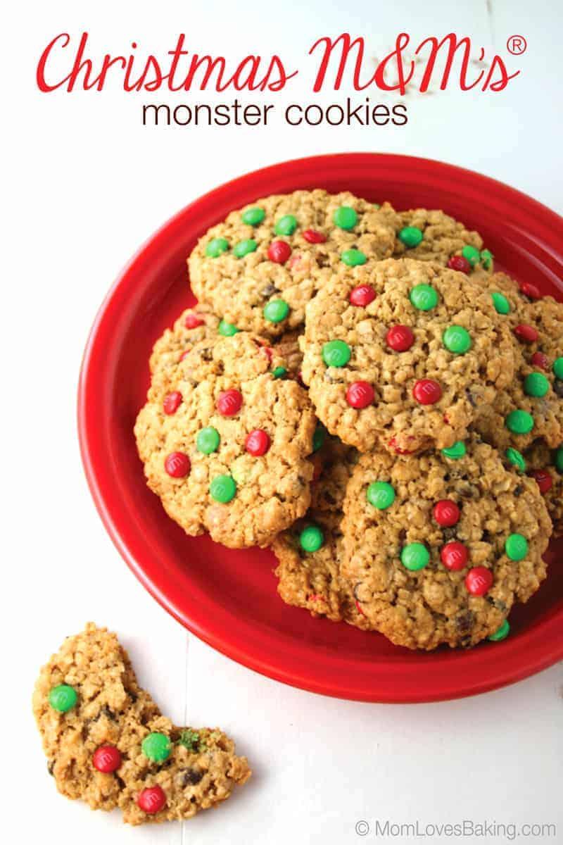 Christmas M M S Monster Cookies Mom Loves Baking