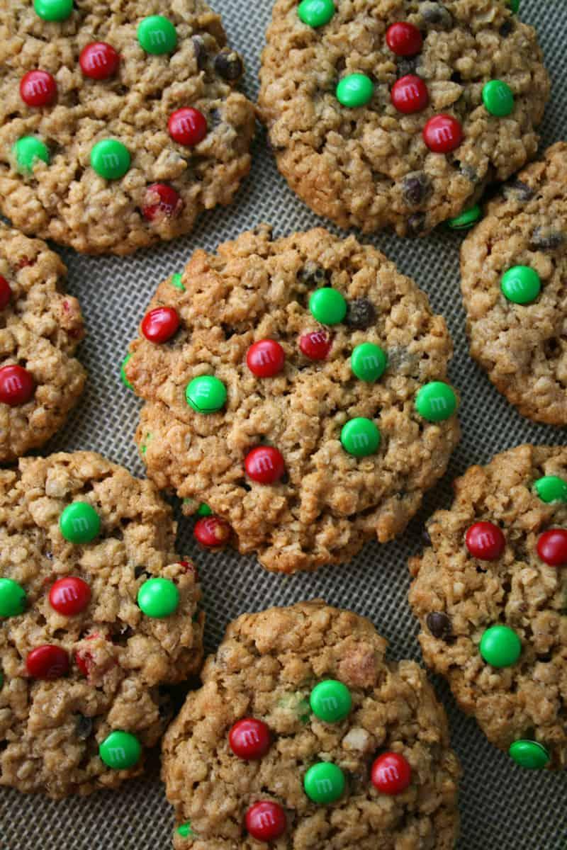 Christmas M&M\'s® Monster Cookies - Mom Loves Baking