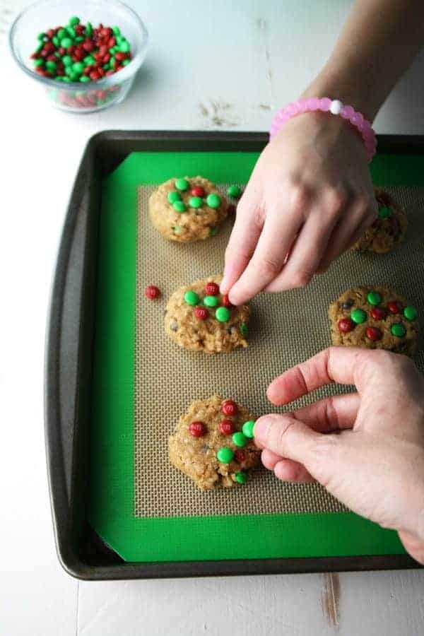 Christmas M&M Monster Cookies