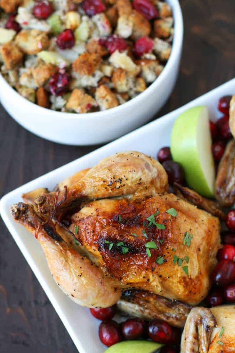Cornish Hen with Apple Cranberry Stuffing