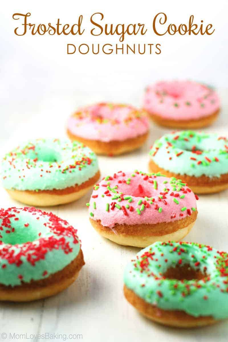 Frosted Sugar Cookie Doughnuts - Mom Loves Baking