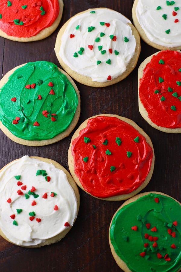 Christmas sugar cookies in circles