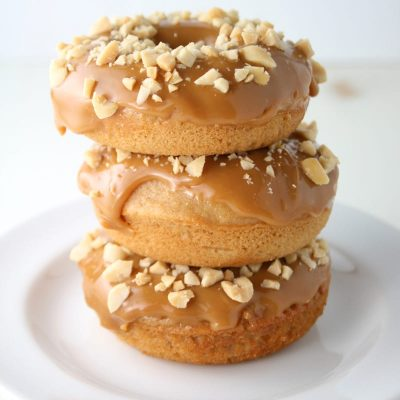 Homemade caramel apple donuts stacked