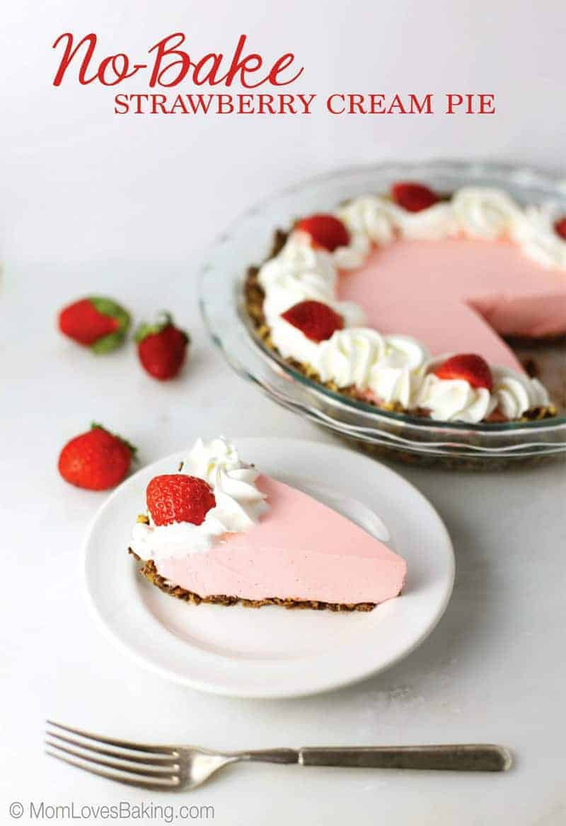 No Bake Strawberry Cream Pie