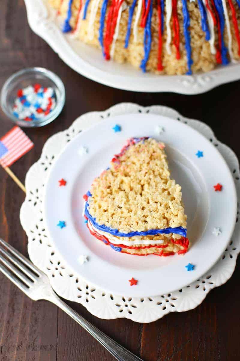 Patritotic Rice Krispies Cake