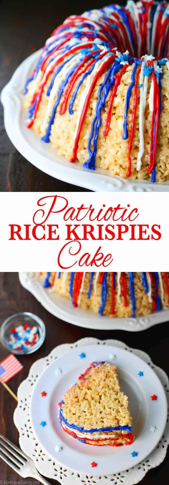 Patriotic Rice Krispies Cake