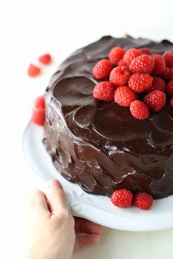 Chocolate Raspberry Layer Cake is a three layer chocolate cake, filled ...