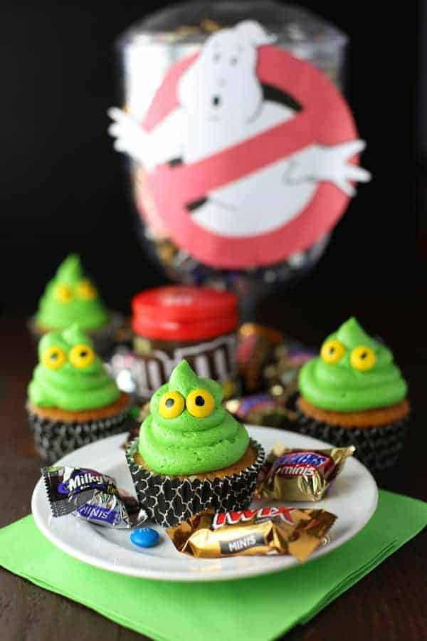Green Ghost Cupcakes with Slime