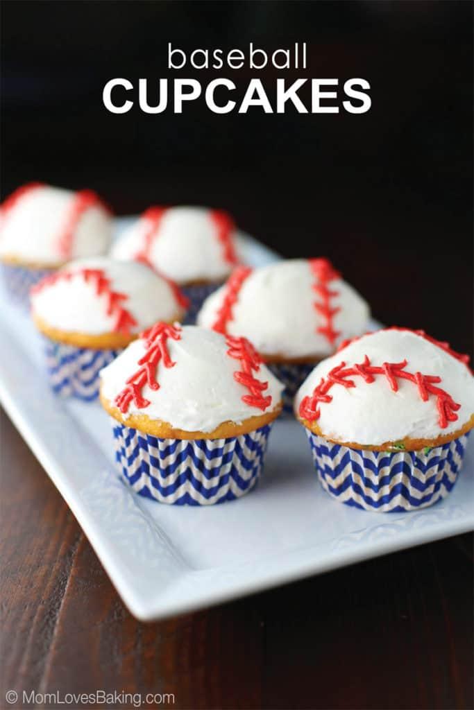 Vanilla Cupcakes with buttercream decorated like baseballs