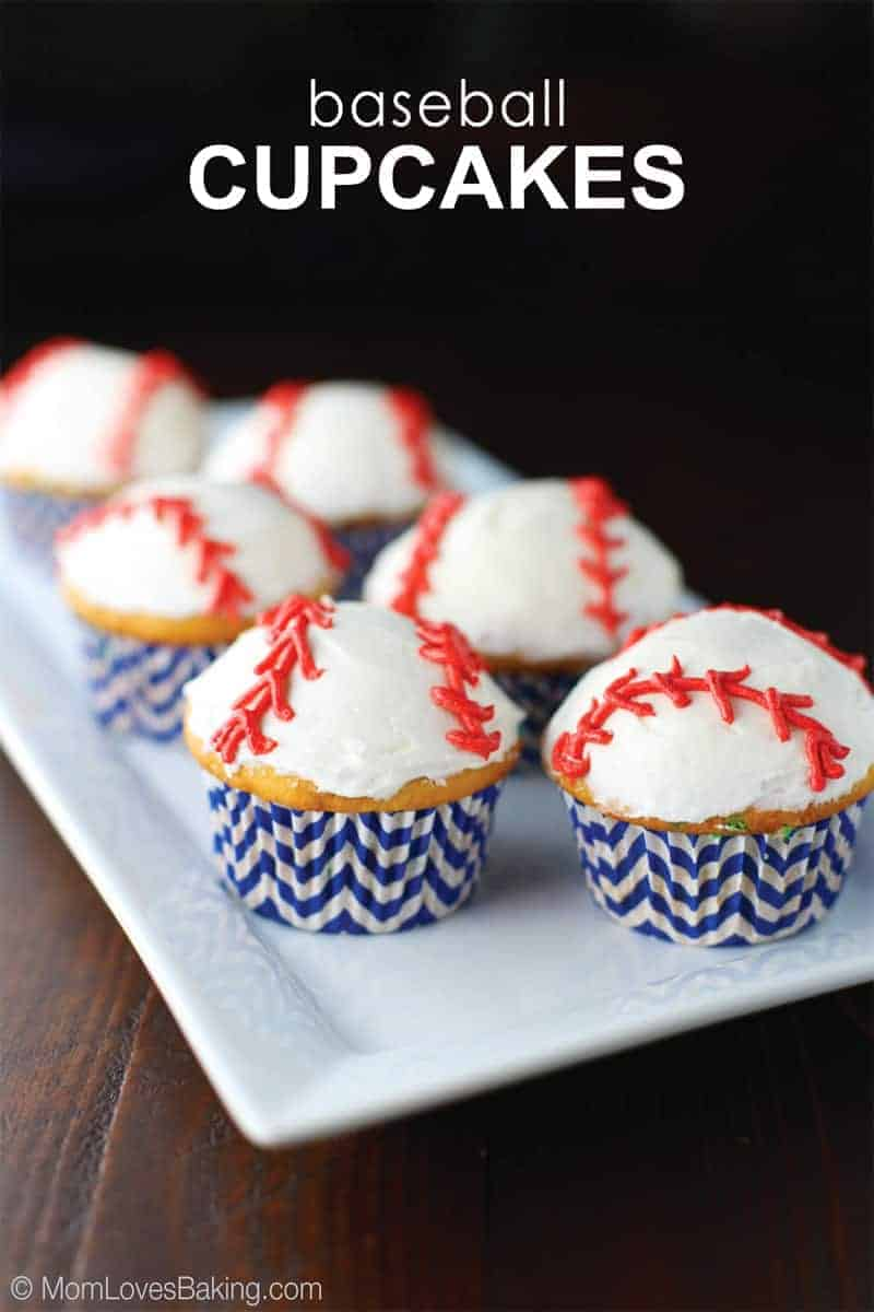 Vanilla Cupcakes with buttercream decorated like baseballs
