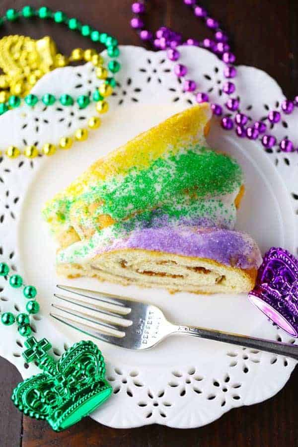 King Cake made from canned Cinnamon rolls