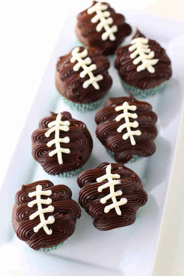Chocolate Cupcakes with Chocolate Ganache Football