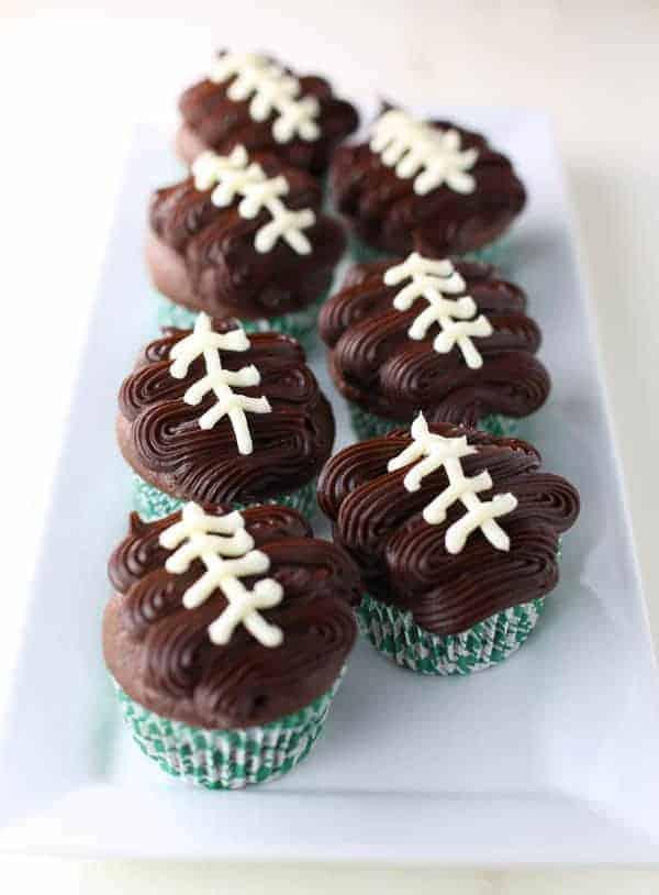 Chocolate Cupcakes with Chocolate Ganache Football