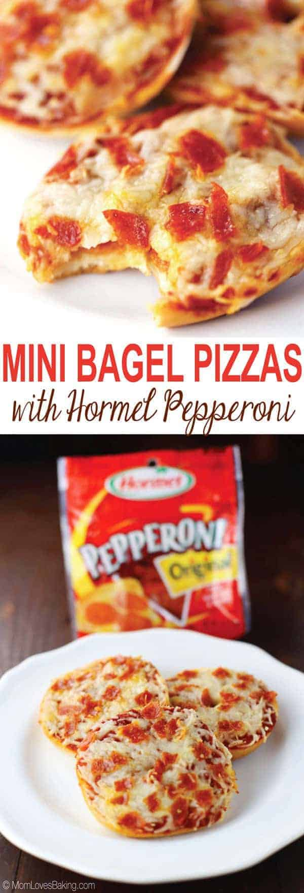 Mini Bagel Pizzas with Hormel Pepperoni