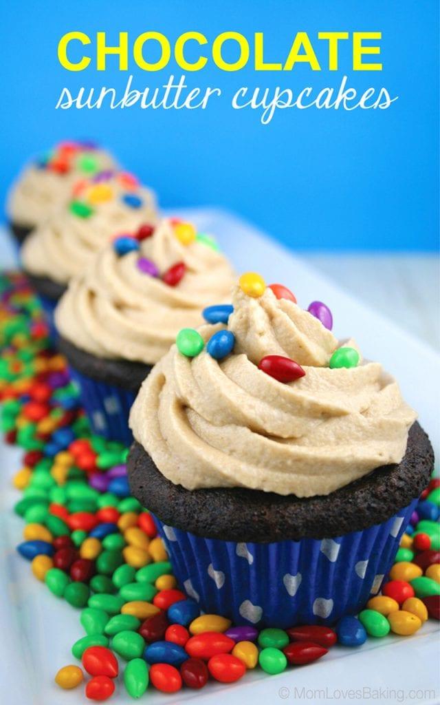 Gluten free chocolate sunbutter cupcakes