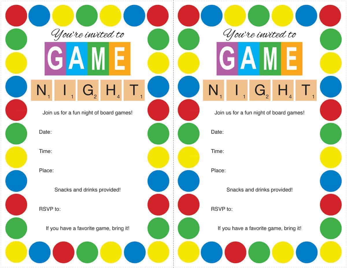 Game Night Party Invitations Karis Sticken Co