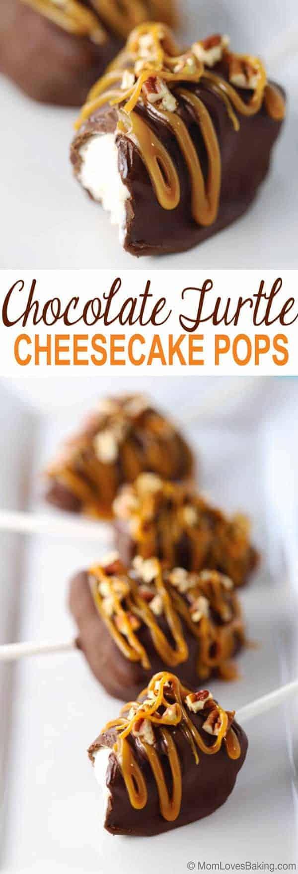Chocolate Turtle Cheesecake Pops