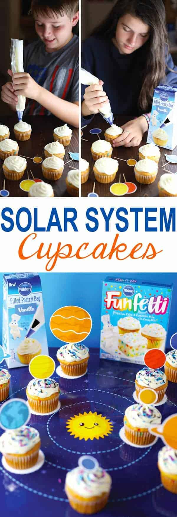 Solar System Cupcakes and kids frosting cupcakes