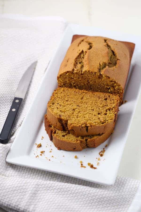 Low Sugar Pumpkin Spice Bread
