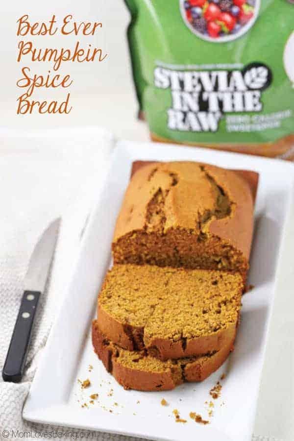 Best Ever Pumpkin Spice Bread with Stevia in the Raw