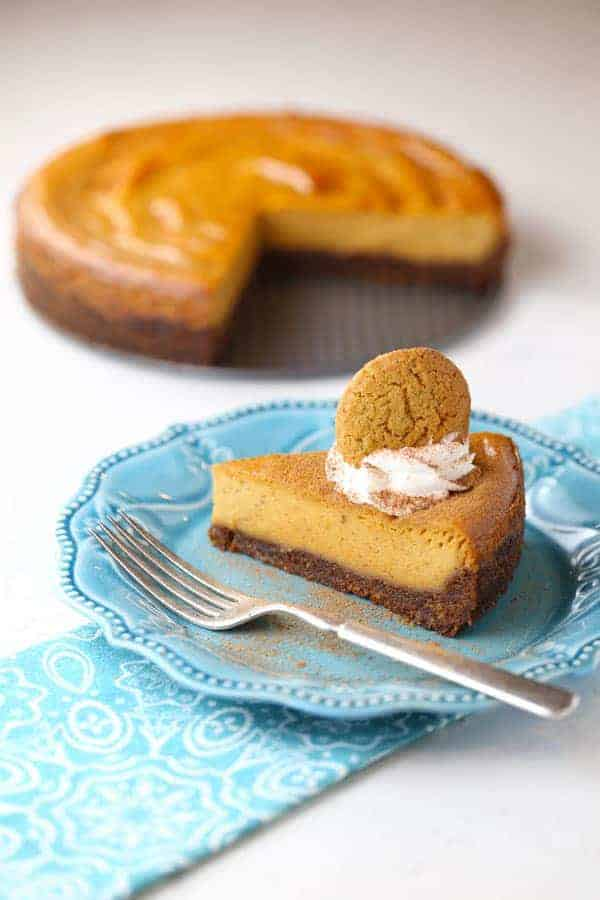 Pumpkin Cheesecake with Gingersnap Pecan Crust - Mom Loves ...
