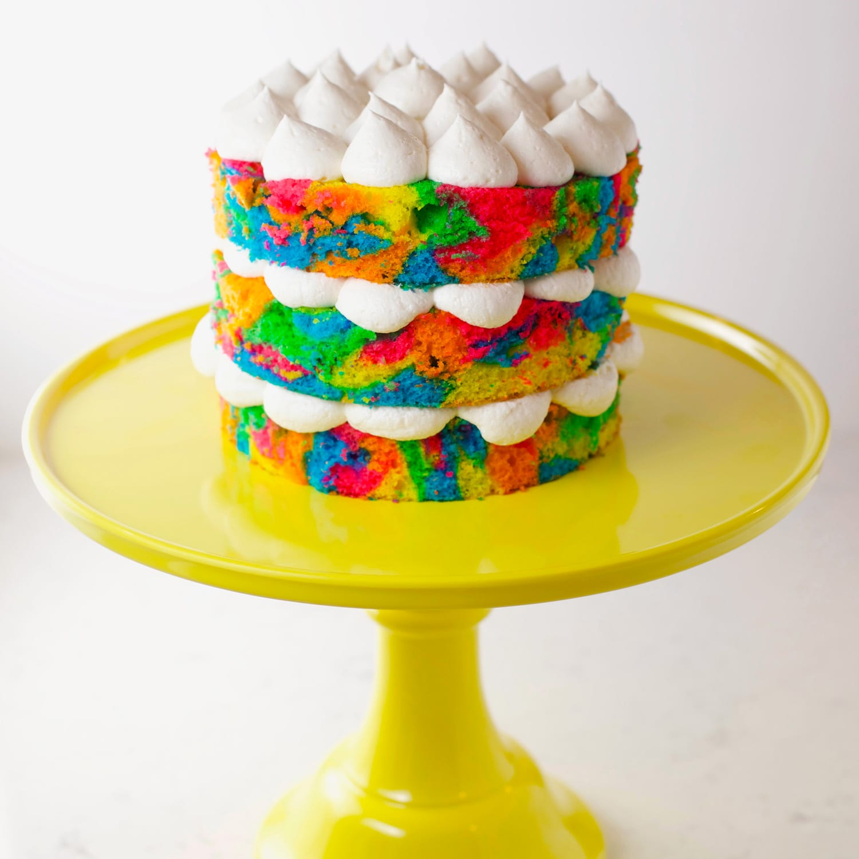 Rainbow tie dye cake with buttercream