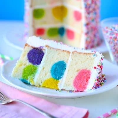Rainbow Sprinkles Polka Dot Surprise Cake