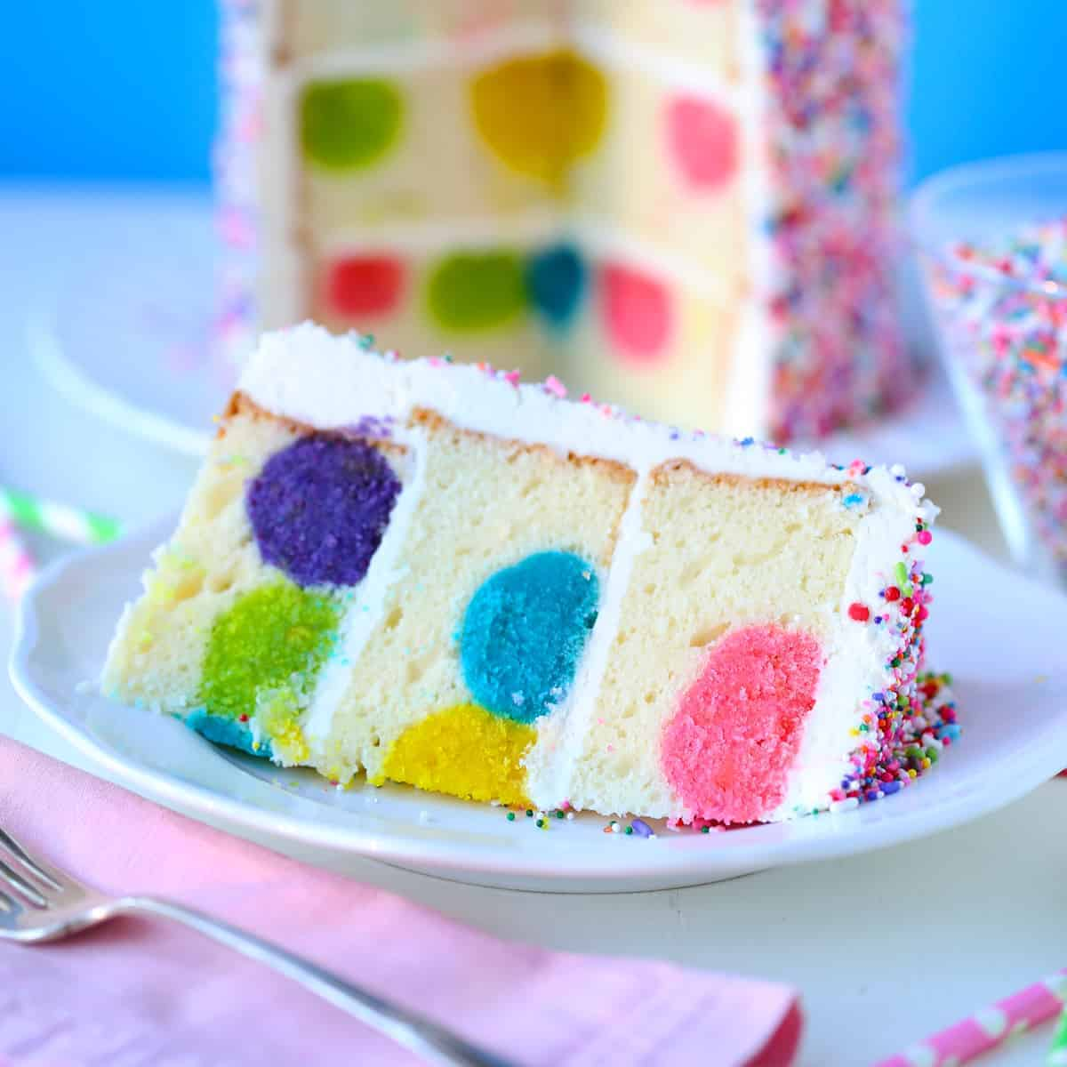 Rainbow Sprinkles Polka Dot Surprise Cake