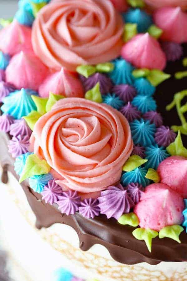 Chocolate Drizzled Semi Naked Rose Cake