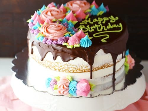 Strange Chocolate Drizzled Semi Naked Rose Cake Mom Loves Baking Funny Birthday Cards Online Elaedamsfinfo
