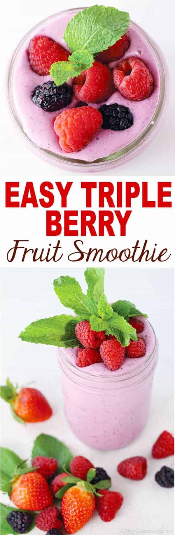 Easy Triple Berry Fruit Smoothie Mom Loves Baking