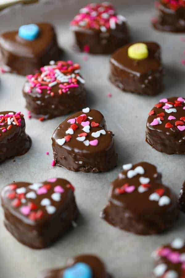 Heart shaped cake bites