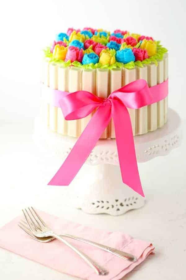 White Kit Kat Rose Cake
