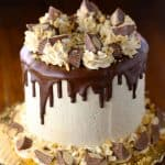 Chocolate cake with peanut butter swiss meringue buttercream frosting.